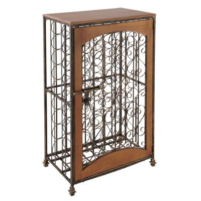 48-Bottle Antiqued Steel and Wooden Accent Wine Jail