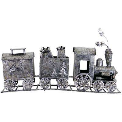19 in. 3-Part Train Statue Garden Decor