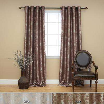 96 in. L Chocolate Blackout Damask Curtain Panel (2-Pack)