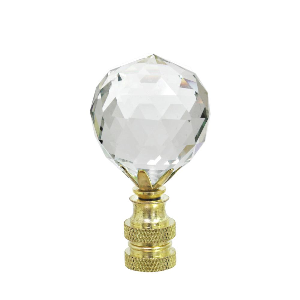 2-1/4 in. Clear Faceted Crystal Lamp Finial with Brass Plated (1-Pack)
