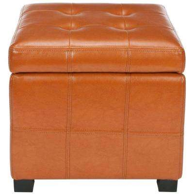 Orange Pick Up Today Faux Leather Ottomans Living Room