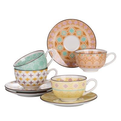 6.75 oz. Assorted Colors Porcelain Coffee Mugs Cup and Saucer Sets(Set of 4)
