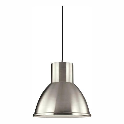 Division Street 1-Light Brushed Nickel Pendant with LED Bulb