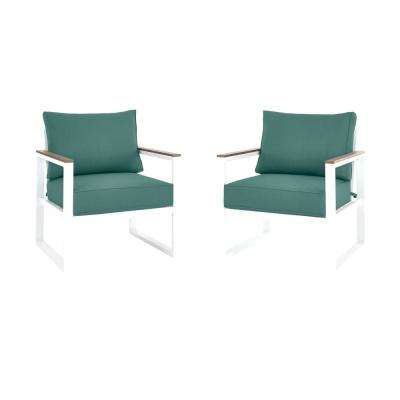 West Park White Aluminum Outdoor Patio Lounge Chair with CushionGuard Charleston Blue-Green Cushions (2-Pack)