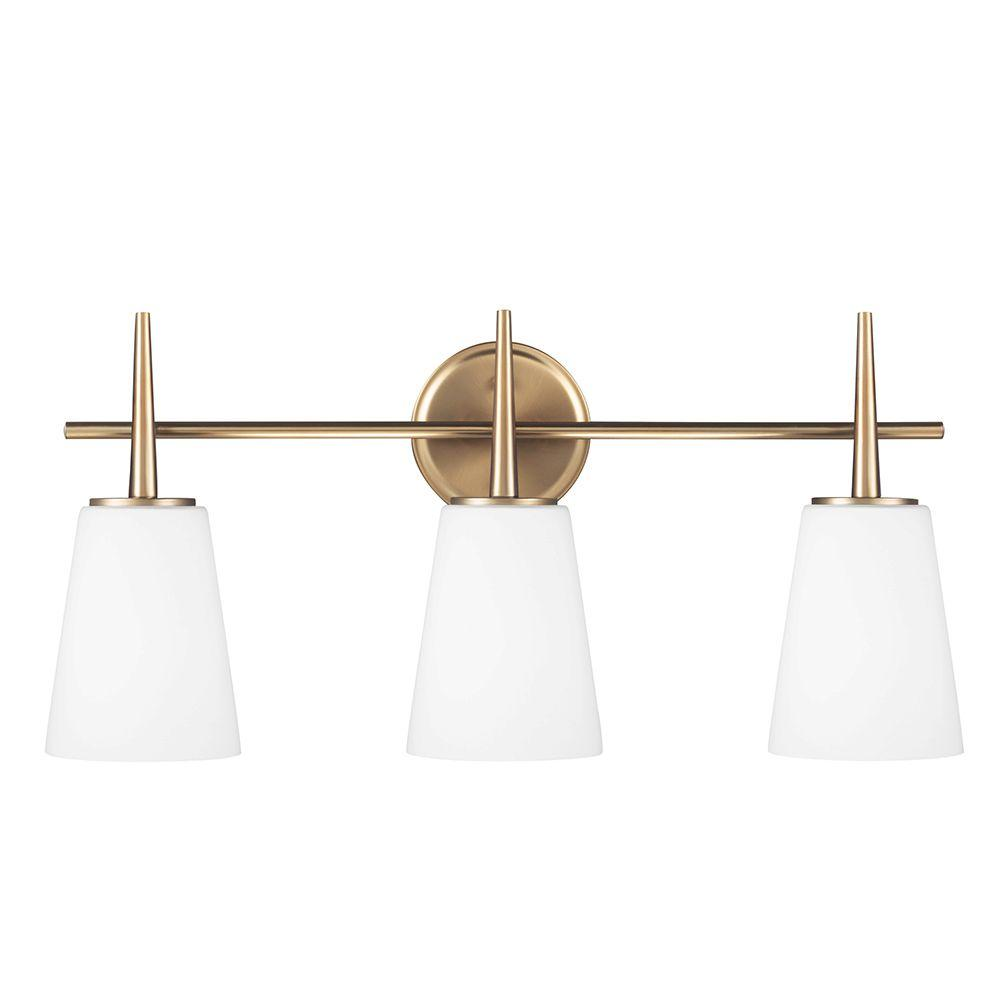 Sea Gull Lighting Driscoll 24.5 in. W. 3-Light Satin Bronze Wall/Bath Vanity Light with Inside White Painted Etched Glass