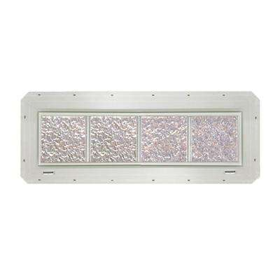 31.75 in. x 9.25 in. x 3.25 in. Ice Pattern Glass Block Window with White Vinyl Nailing Fin
