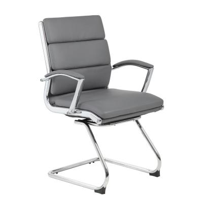 ExecutivePro Guest Chair. Grey Caressoft Vinyl Chrome plated Steel frame. Deluxe Comfort. Padded Arms.