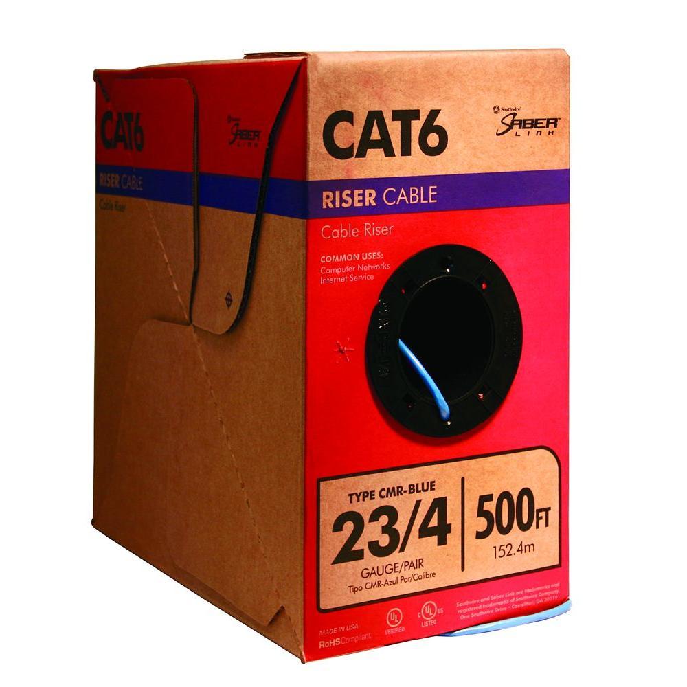 500 ft. Blue 23/4 Solid CU CAT6 CMR (Riser) Data Cable