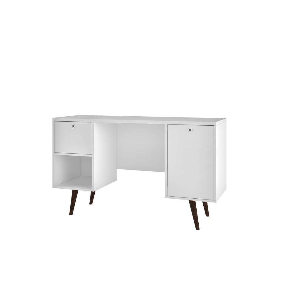 Edgar White 1-Drawer Office Desk
