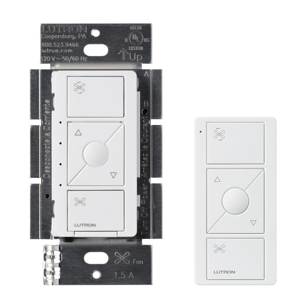 Caseta Wireless Smart Fan Speed Control and Remote Kit, White