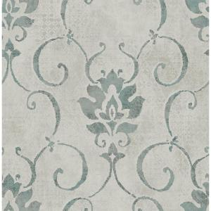 Brilliant Metallic Silver and Slate Blue Damask Strippable Wallpaper