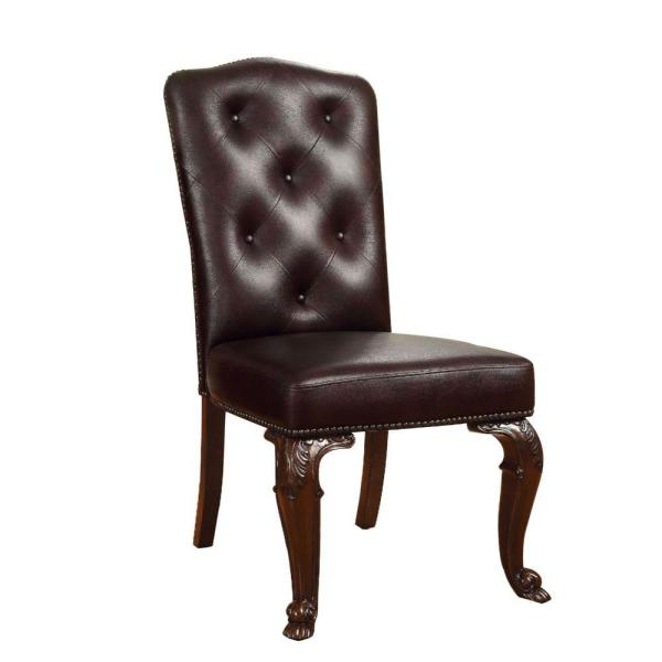 43.25 in. Traditional Cherry Brown Side Chair with Leather Upholstery (Set of 2)
