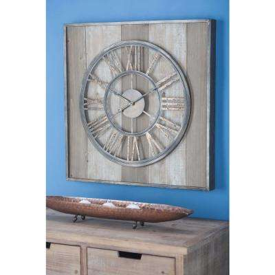 26 in. x 26 in. Rustic Traditional Wall Clock in Distressed Brown