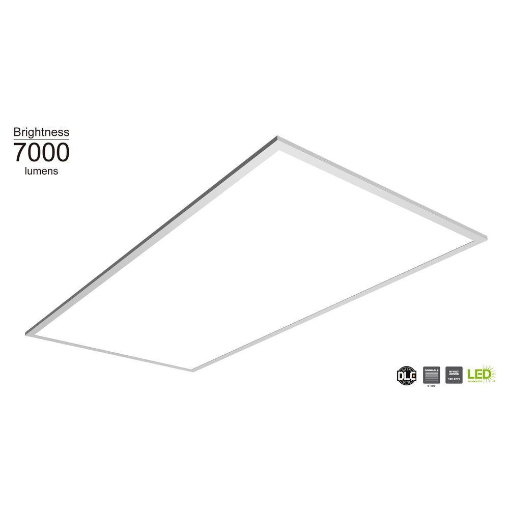 7000 Lumen 2 ft. x 4 ft. White Integrated LED Troffer Flat Panel