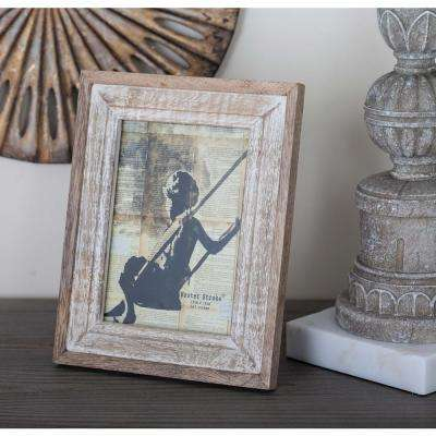1-Opening 7 in. x 9 in. Rustic Brown and White Picture Frame
