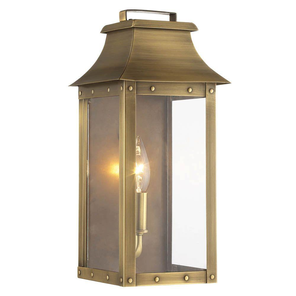 Acclaim Lighting Manchester Collection 1 Light Aged Brass Outdoor Wall  Lantern