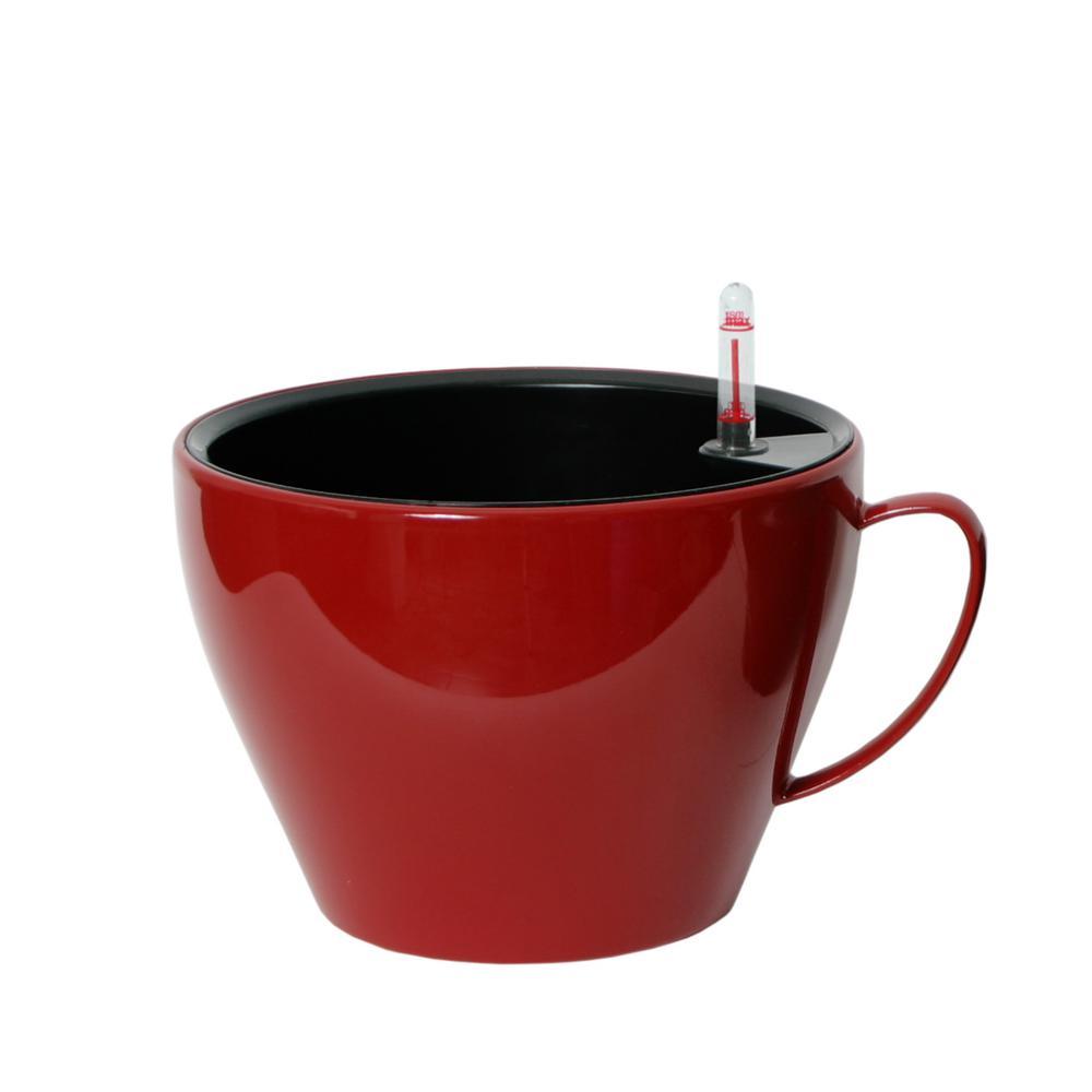 Modena Cappuccino Cup 9 in. Gloss Red Plastic Planter