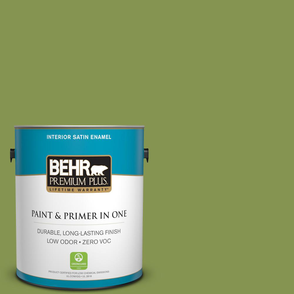 BEHR Premium Plus 1-gal. #M360-6 Bold Avocado Satin Enamel Interior Paint