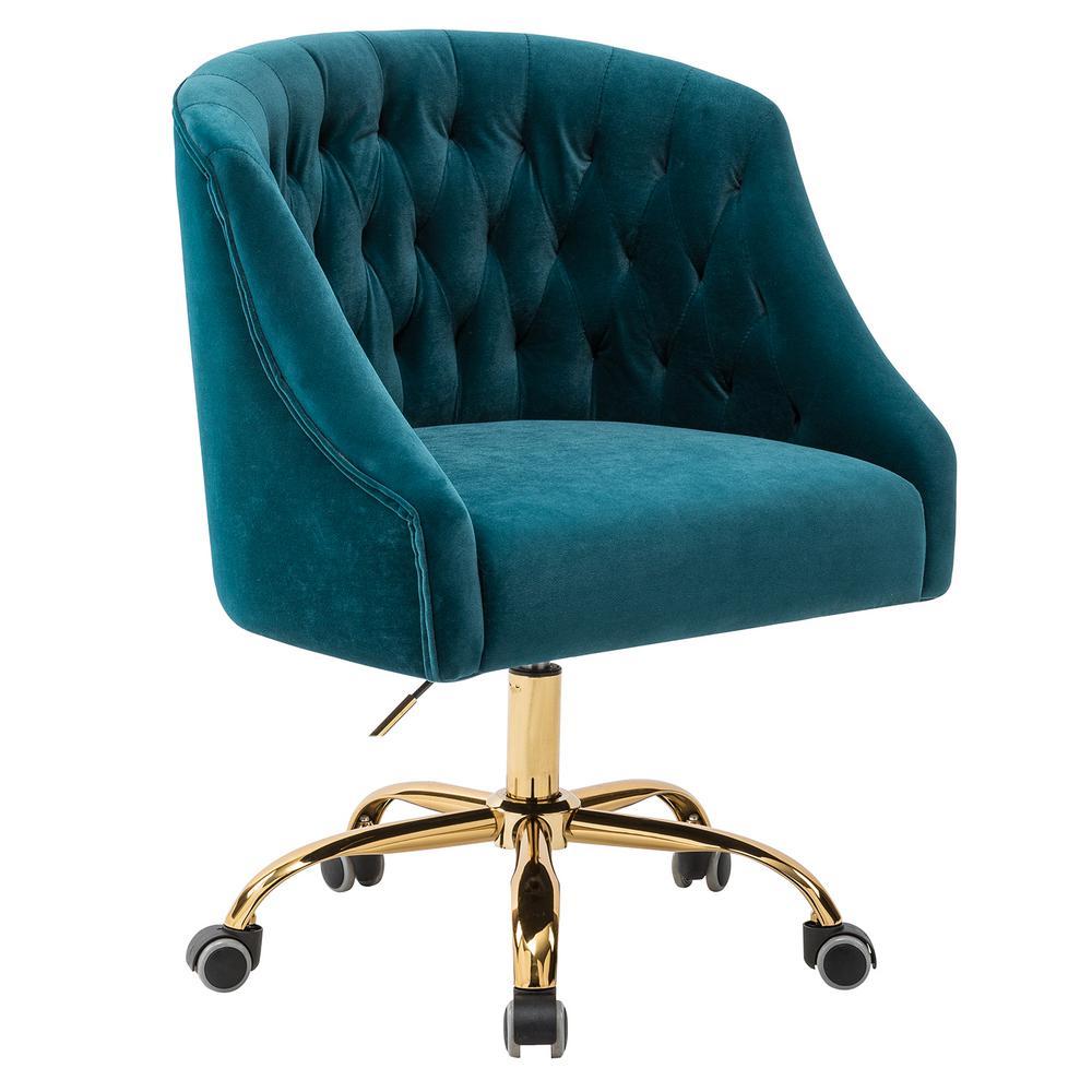 Lydia Teal Velvet Tufted Desk Chair