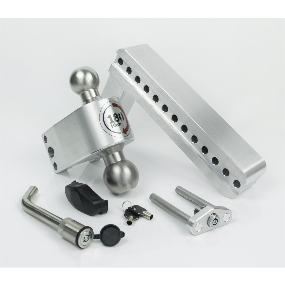 Adjustable Aluminum Trailer Hitch Ball Mount /& Chrome Plated Combo Ball Keyed Alike Key Lock and Hitch Pin Weigh Safe 180 HITCH CTB4-2-KA 4 Drop Hitch 2 Receiver 12,500 LBS GTW