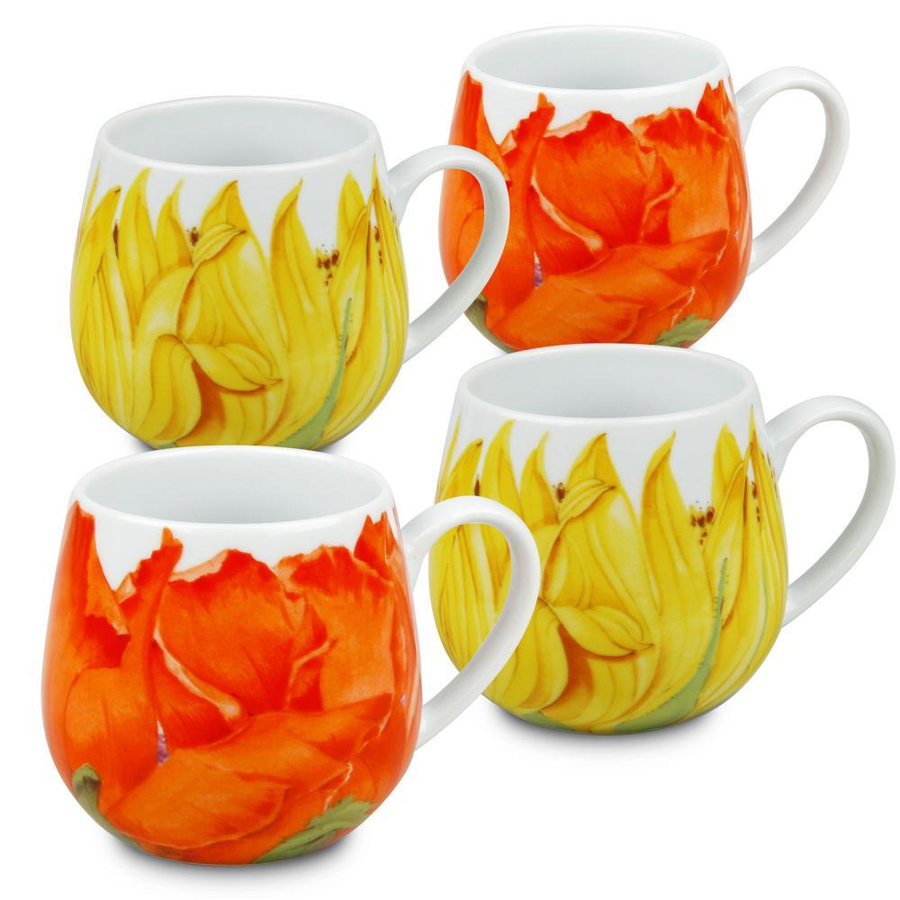 Konitz 4-Piece Assorted Sunflower and Corn Poppy Porcelain Snuggle Mug Set