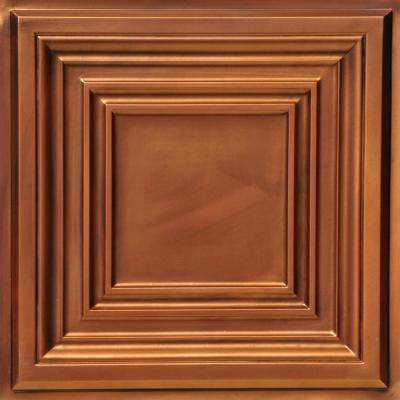 Washington Square 2 ft. x 2 ft. PVC Glue-up or Lay-in Ceiling Tile in Aged Copper