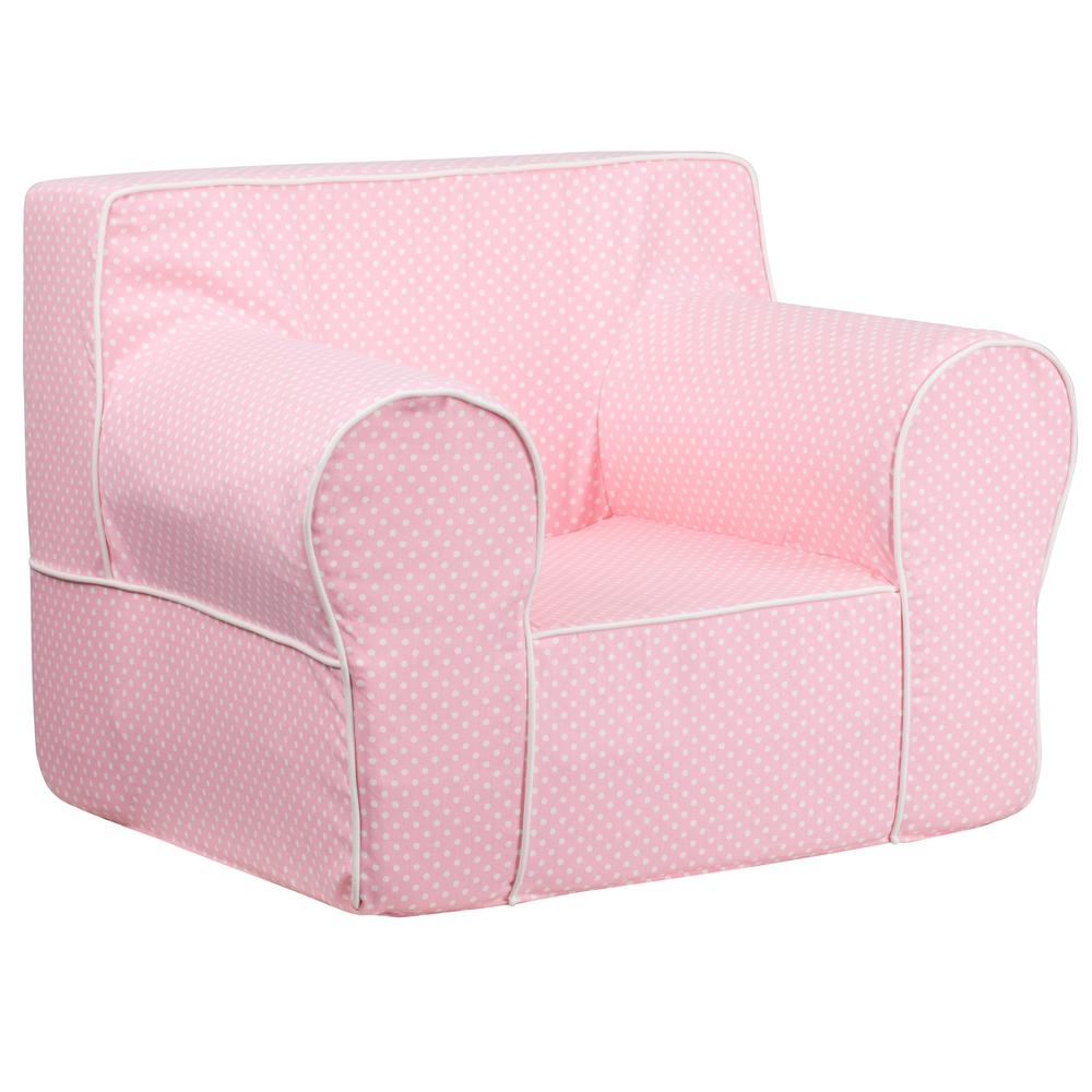 FLASH Oversized Light Pink Dot Kids Chair with White Pipi...