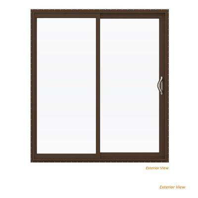 72 in. x 80 in. V-2500 Brown Painted Vinyl Right-Hand Full Lite Sliding Patio Door w/White Interior