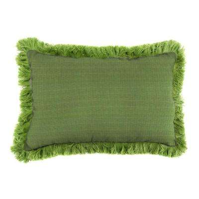 Sunbrella 9 in. x 22 in. Surge Cilantro Lumbar Outdoor Pillow with Gingko Fringe