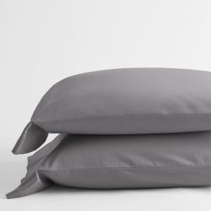 Velvet Flannel Gray Solid King Pillowcase (Set of 2)