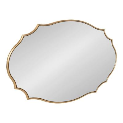 Leanna 24 in. x 36 in. Modern Glam Oval Gold Wall Mirror