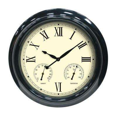 18 in. Black Clock, Thermometer and Hygrometer