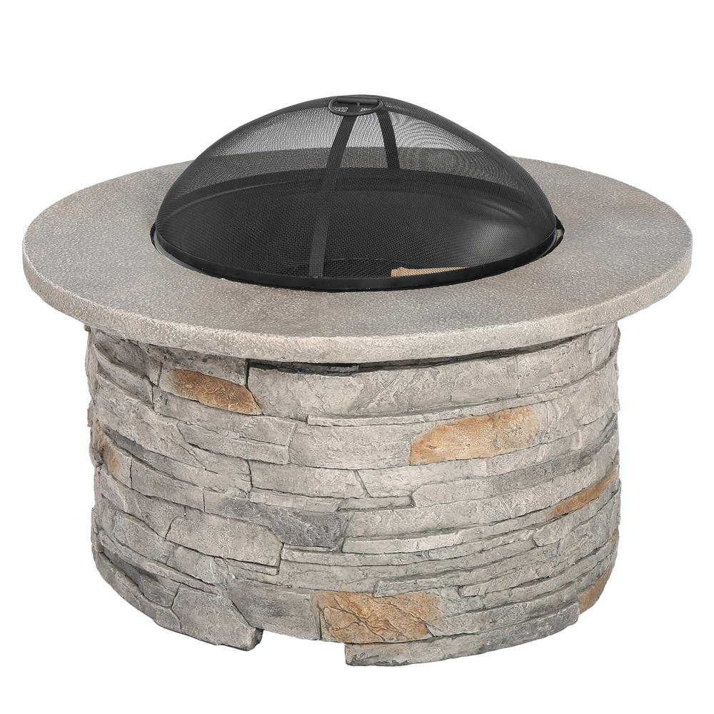 Noble House Channing 36.40 in. x 28.5 in. Round Glass Fiber Reinforce Cement Fire Pit