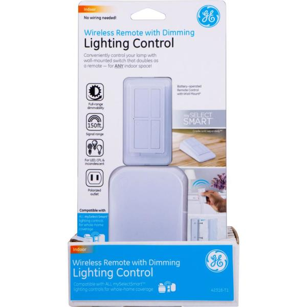 Wireless Remote with Lamp Dimmer Lighting Control, White
