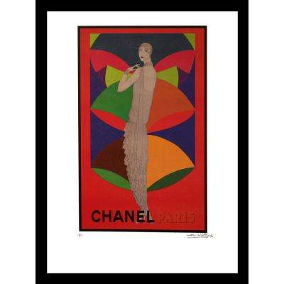 """24 in x 18 in"" ""Erte"" Vintage Chanel Ad by Fairchild Paris Framed Printed Wall Art"