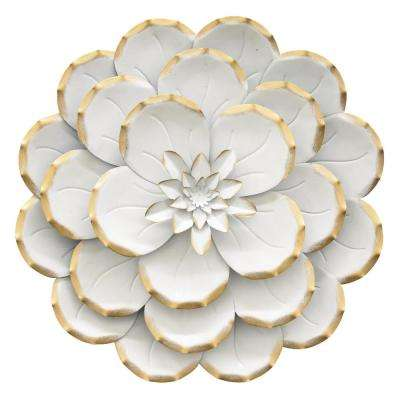 13 in. Metal Flower Wall Decor in White