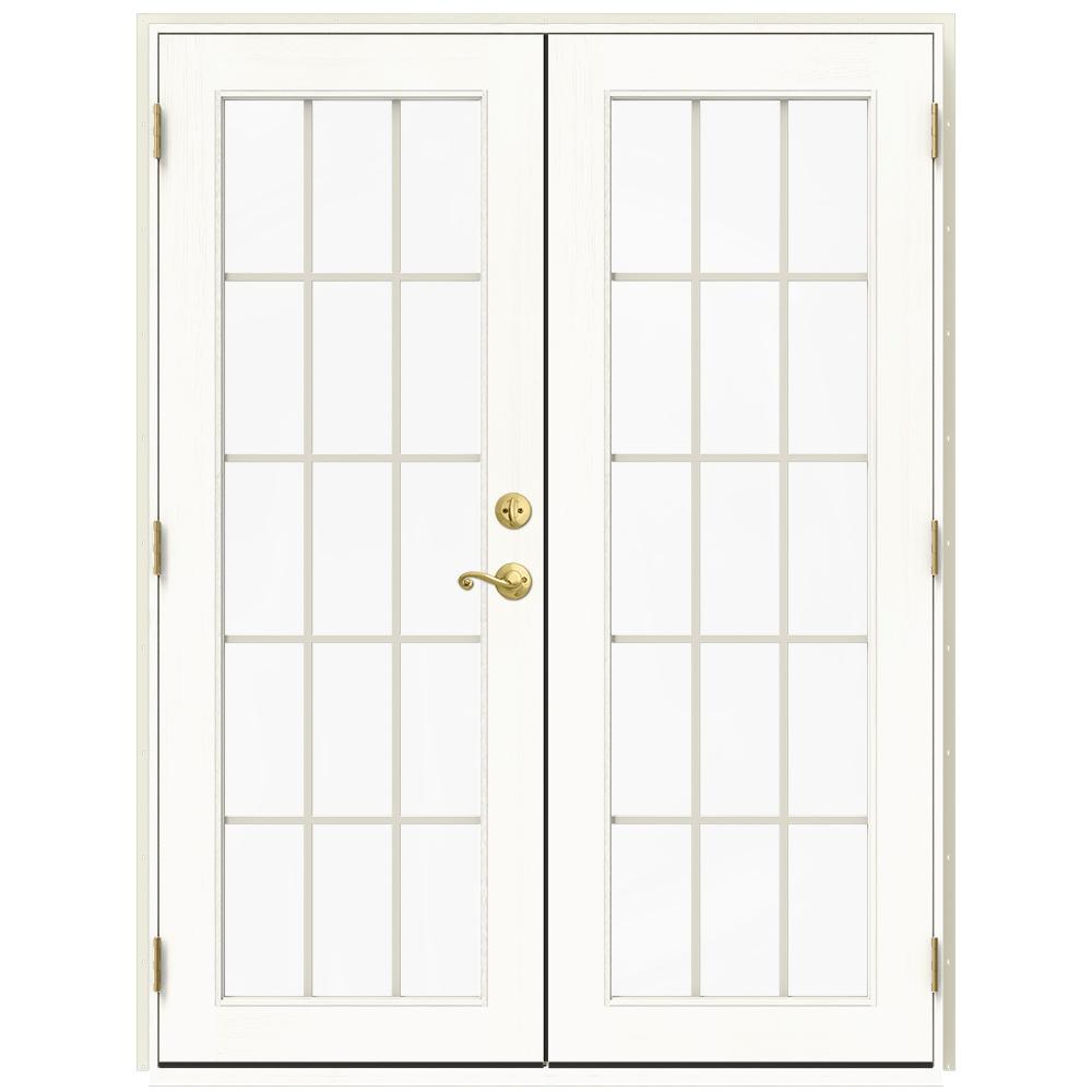 Jeld Wen 60 In X 80 In W 2500 Vanilla Clad Wood Right Hand 15 Lite French Patio Door W White