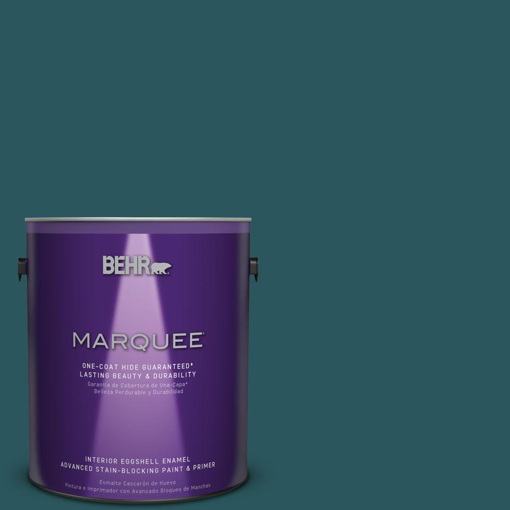 BEHR MARQUEE 1 gal. #MQ6-1 Ocean Abyss Eggshell Enamel One-Coat Hide Interior Paint and Primer in One