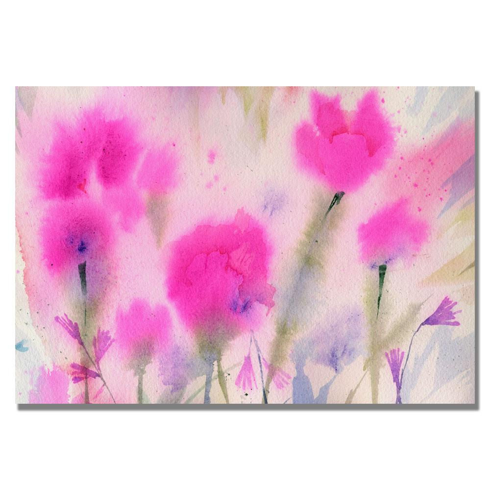 """26 in. x 32 in. """"Fuchsia Flowers"""" by Sheila Golden Printed"""