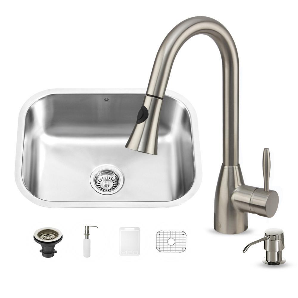 undermount kitchen sink with faucet holes vigo all in one undermount stainless steel 23 in 0 27597