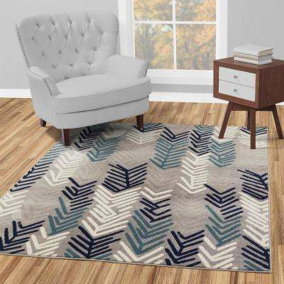 Jasmin Collection Contemporary Floral Design Gray and Navy 7 ft. x 9 ft. Area Rug