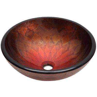 Burney Glass Vessel Sink in Cool-Copper and Rich-Red
