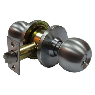 2-3/8 in. Cylindrical Ball Satin Chrome Keyed Entry Door Knob with Latch