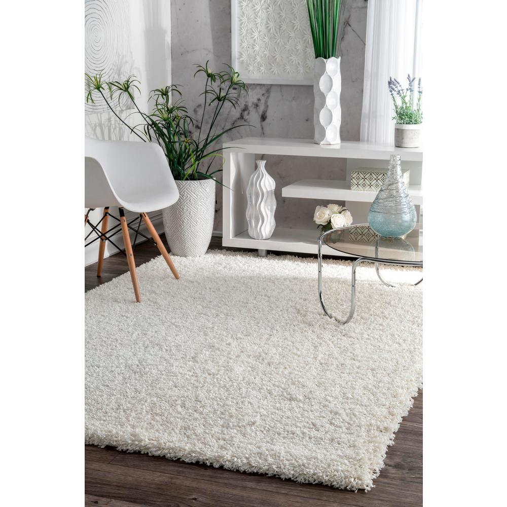 Nuloom Luxe Solid Plush Shag White 8 Ft X 10 Area Rug