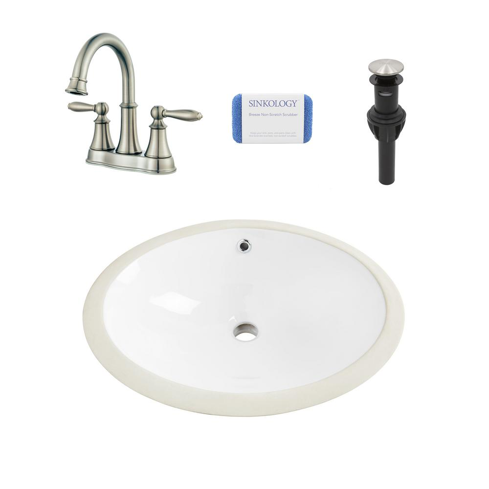 sinkology louis all-in-one undermount 19 in. bathroom sink in white and  pfister courant brushed nickel faucet