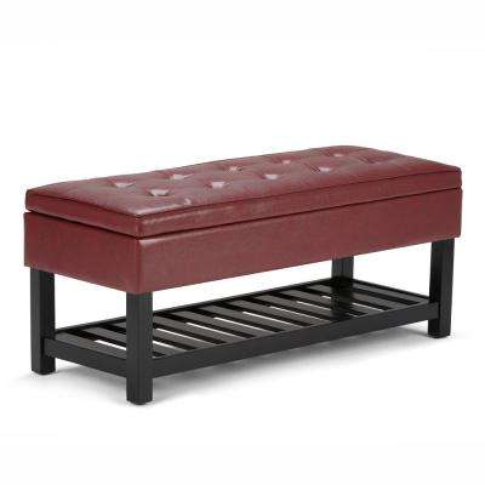 Cosmopolitan Radicchio Red Storage Ottoman Bench with Open Bottom
