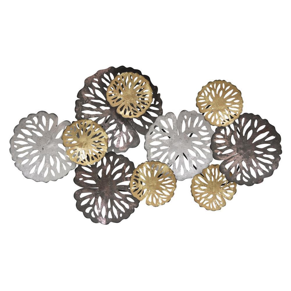 THREE HANDS 21 in. Multicolor Neutral Pierced Metal Wall Decor 10911