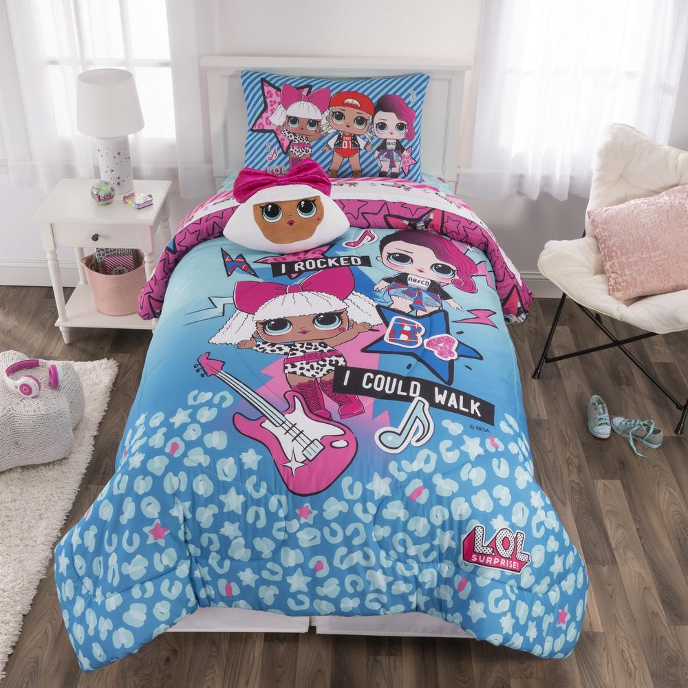 L O L Surprise 5 Piece Quot Born Rockers Quot Blue Twin Size Bed