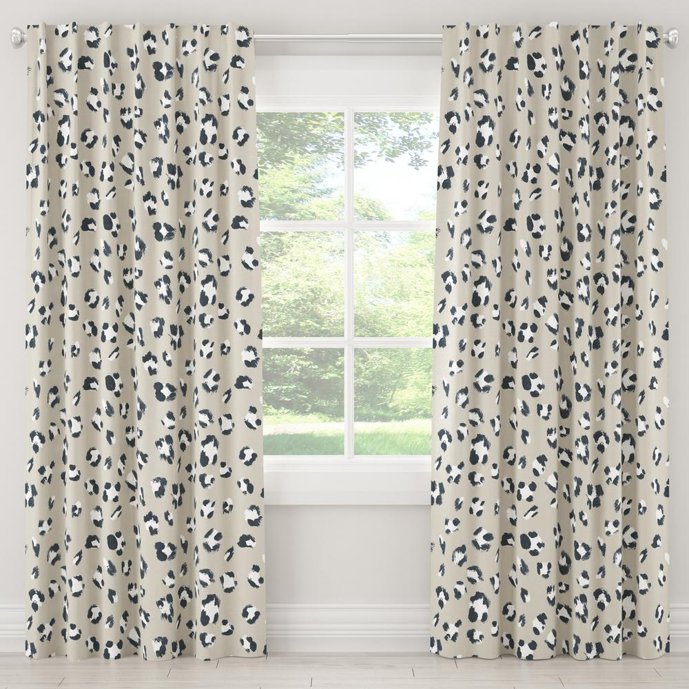 Skyline Furniture 50 in. W x 63 in. L Blackout Curtain in Brush Cheetah Ivory