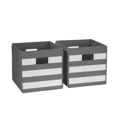 Gray With White Stripe Folding Storage Bin (2